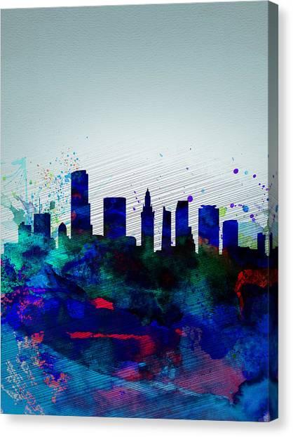 Florida Canvas Print -  Miami Watercolor Skyline by Naxart Studio