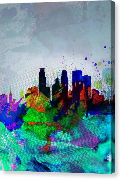Minnesota Canvas Print -  Minneapolis Watercolor Skyline by Naxart Studio
