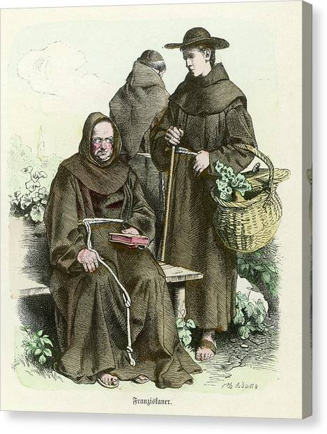 Monks Of The Order Of  Saint Francis Canvas Print by Mary Evans Picture Library