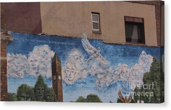 Iowa State University Canvas Print -  Mural On The Building by Yumi Johnson