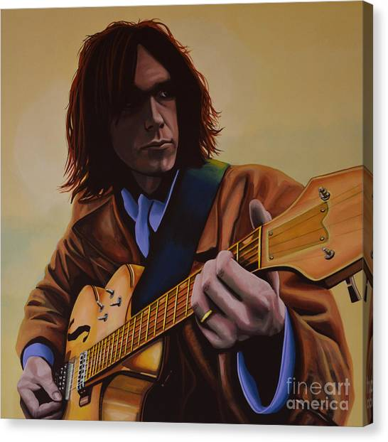 Neil Young Canvas Print -  Neil Young Painting by Paul Meijering