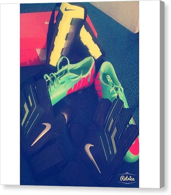 Football Players Canvas Print - -new Cleats,gloves, &' Shin Guards by Evie Prosper