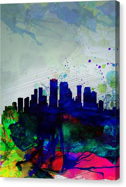 Louisiana Canvas Print -  New Orleans Watercolor Skyline by Naxart Studio