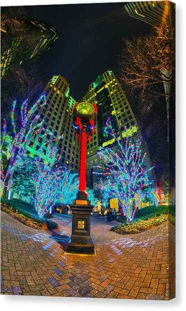 Nightlife Around Charlotte During Christmas Canvas Print