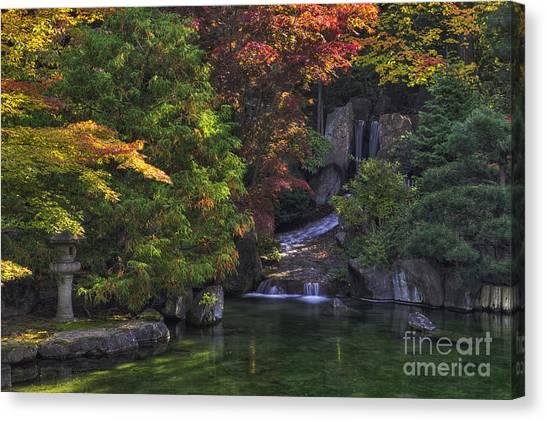 Inland Canvas Print -  Nishinomiya Japanese Garden - Waterfall by Mark Kiver
