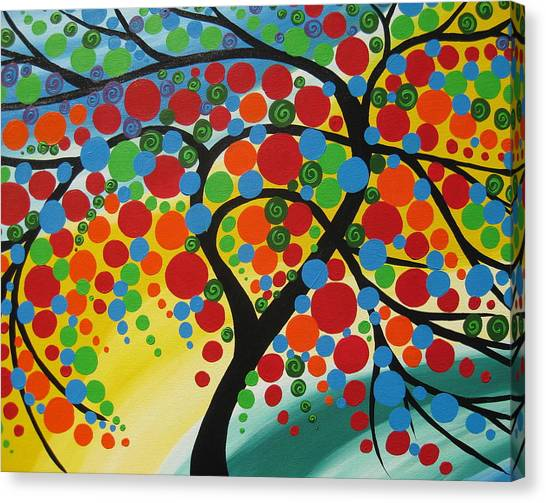 Living With Joy Canvas Print -  Orb Tree  by Cathy Jacobs