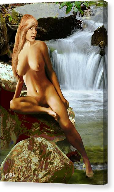 Canvas Print featuring the painting  Original Fine Art Nude Jess As Celtic Water Goddess Cortina by G Linsenmayer