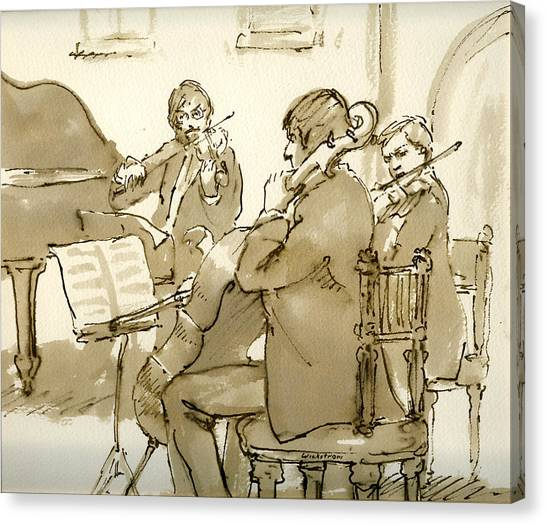 Original Pen And Ink Drawing Three Musicians In Concert Canvas Print
