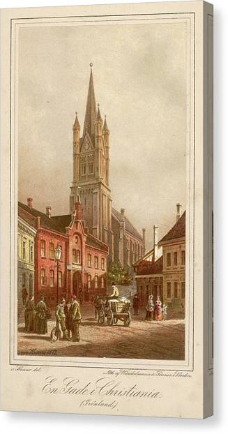 Oslo (formerly Christiania)  Street Canvas Print by Mary Evans Picture Library