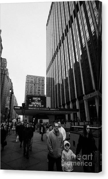 Outside Madison Square Garden New York City Winter Usa Canvas Print by Joe Fox