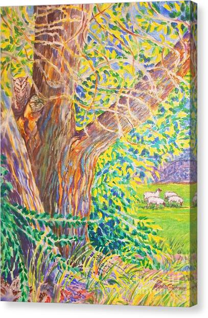 Painting Of Owl In Tree II Canvas Print by Annie Gibbons