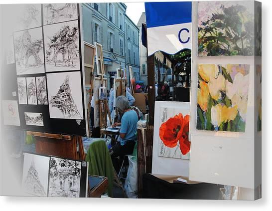 Paris Montmartre Place Du Tetre Canvas Print by Jacqueline M Lewis