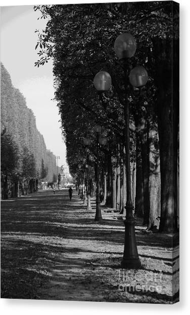 Paris - Peaceful Afternoon Bw Canvas Print by Jacqueline M Lewis