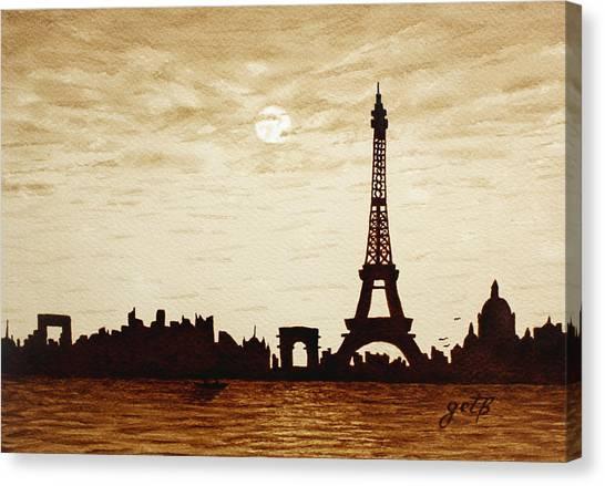 Paris Under Moonlight Silhouette France Canvas Print