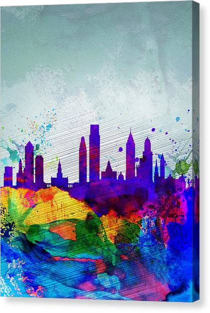 Philadelphia Canvas Print -  Philadelphia Watercolor Skyline by Naxart Studio
