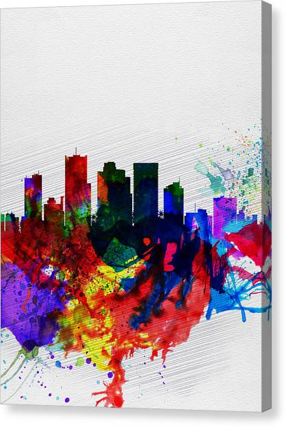 Phoenix Canvas Print -  Phoenix Watercolor Skyline 2 by Naxart Studio