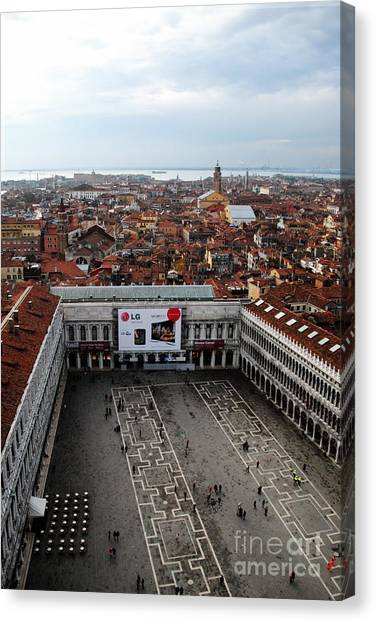 Piazza San Marco Aerial Canvas Print by Jacqueline M Lewis