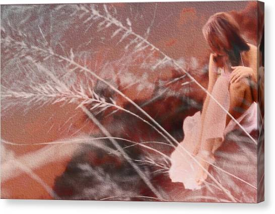 Woman In Pink Field Canvas Print