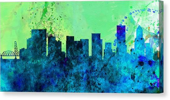 Portland Canvas Print -  Portland City Skyline by Naxart Studio