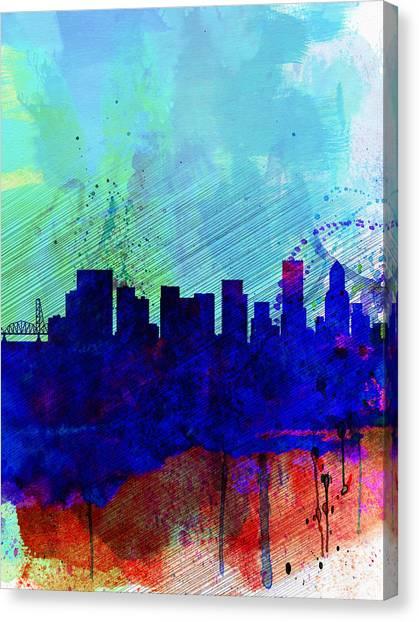 Places Canvas Print -  Portland Watercolor Skyline by Naxart Studio
