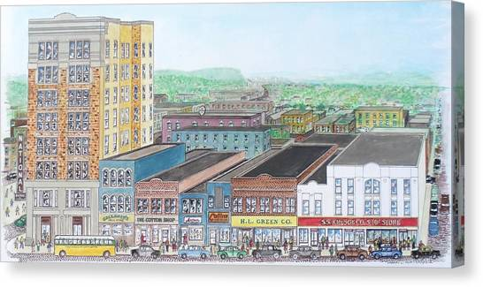 Portsmouth Ohio Dime Store Row 4th To 5th Canvas Print