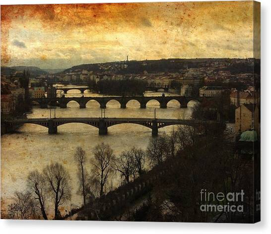 Vintage Prague Vltava River 1 Canvas Print