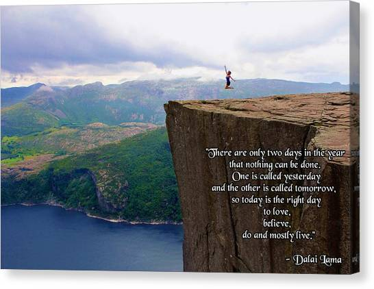 Preikestolen Pulpit Rock Norway Dalai Lama Quote  Canvas Print