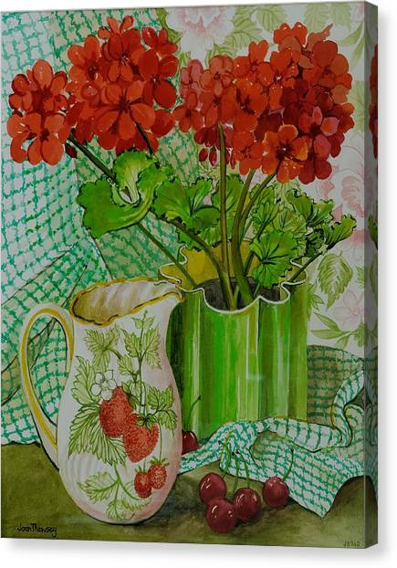 Chequered Canvas Print -  Red Geranium With The Strawberry Jug And Cherries by Joan Thewsey