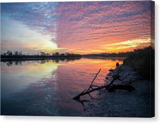 River Glows At Sunrise Canvas Print