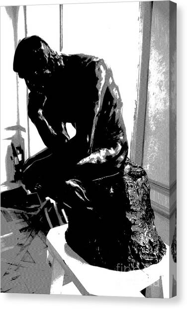 Rodin  -  The Thinker Canvas Print by Jacqueline M Lewis