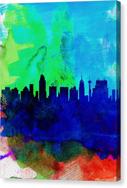 San Antonio Canvas Print -  San Antonio Watercolor Skyline by Naxart Studio
