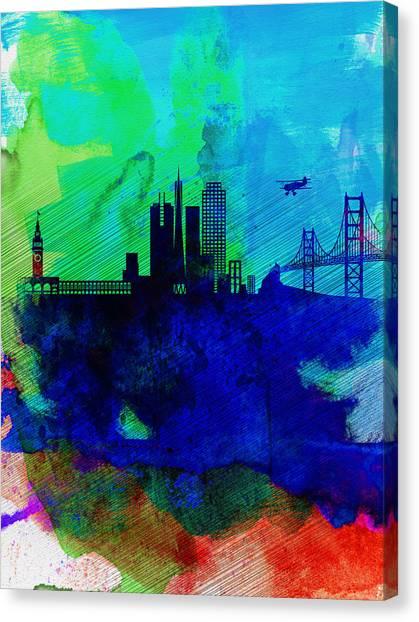 Places Canvas Print -  San Francisco Watercolor Skyline 2 by Naxart Studio
