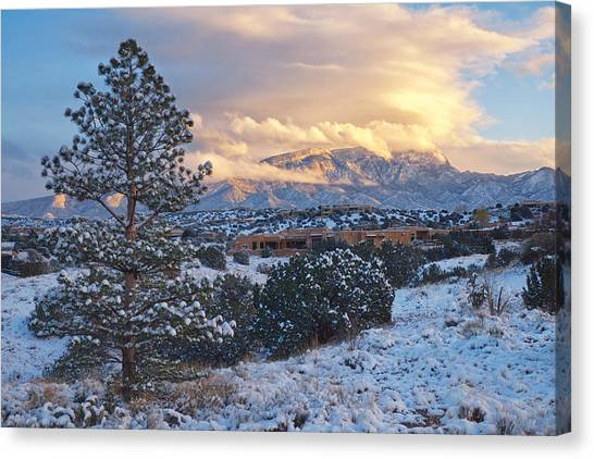 Sandia Mountains With Snow At Sunset Canvas Print