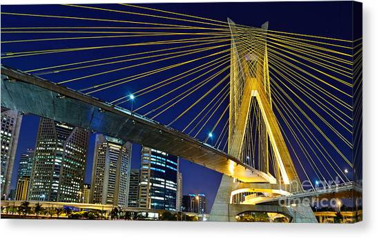 Sao Paulo's Iconic Cable-stayed Bridge  Canvas Print