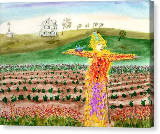 Scarecrow With Nesting Companion Canvas Print
