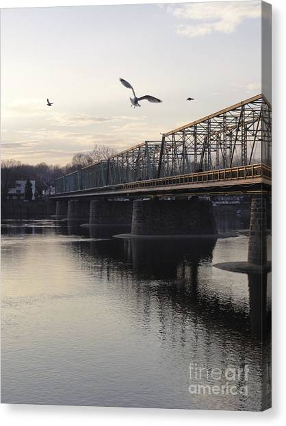 Gulls At The Bridge In January Canvas Print