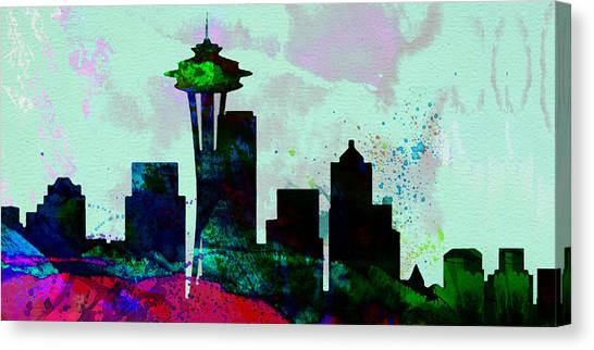 Washington Canvas Print -  Seattle City Skyline by Naxart Studio