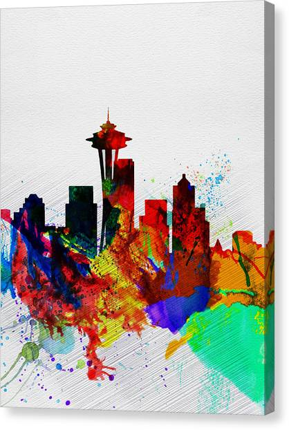 Seattle Skyline Canvas Print -  Seattle Watercolor Skyline 2 by Naxart Studio