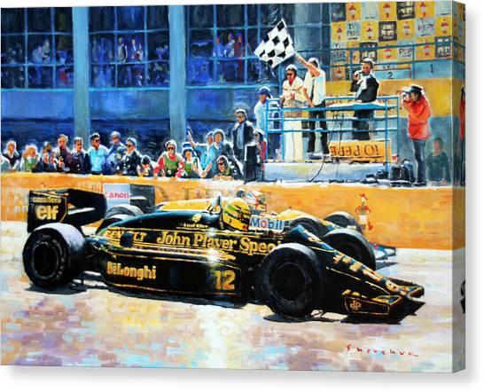Automotive Art Canvas Print -  Senna Vs Mansell F1 Spanish Gp 1986 by Yuriy Shevchuk