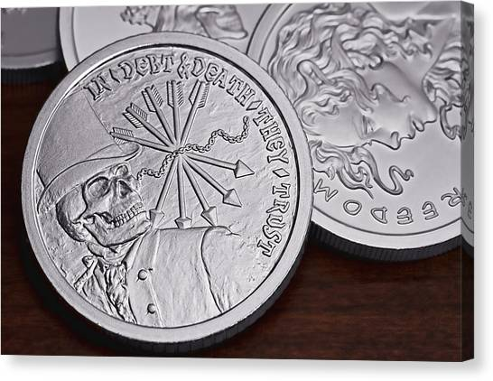 Coins Canvas Print -  Silver Bullion Debt And Death by Tom Mc Nemar