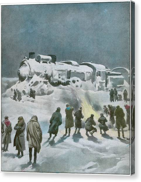 Snow Halts The Train On The Canvas Print by Mary Evans Picture Library