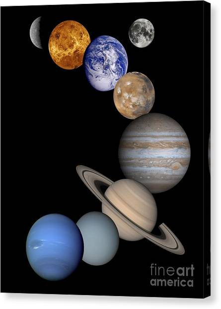 Uranus Canvas Print -  Solar System Montage by Anonymous
