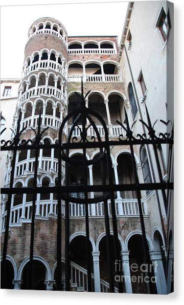 Spiral Staircase Canvas Print by Jacqueline M Lewis