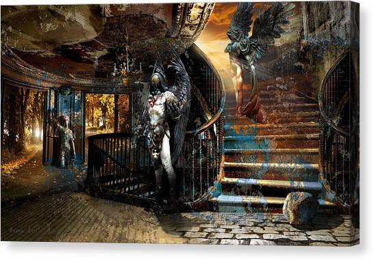 Dilapidated Canvas Print - Stairway To Heaven Vs. Stairwell To Hell by George Grie