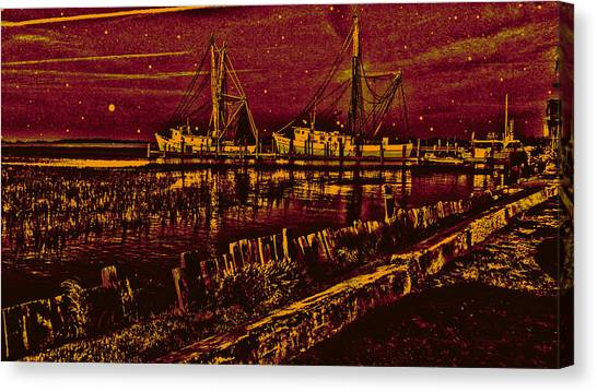 Stary Night Time At The Docks Canvas Print
