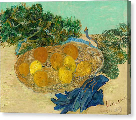 Peel Canvas Print -  Still Life Of Oranges And Lemons With Blue Gloves by Vincent van Gogh