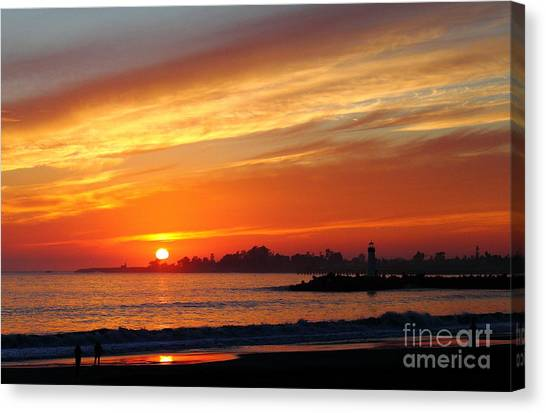Sunset At Santa Cruz Harbor 1 Canvas Print