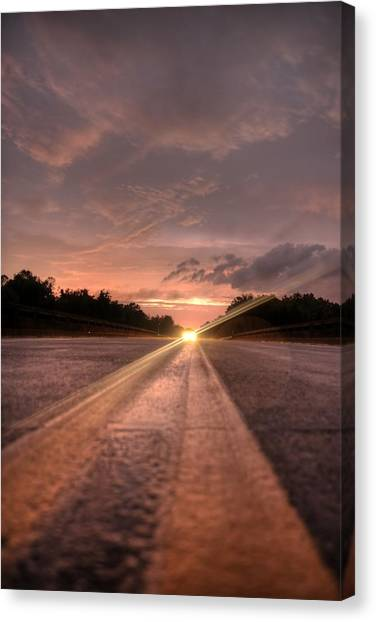 Sunset High Beams Canvas Print by David Paul Murray