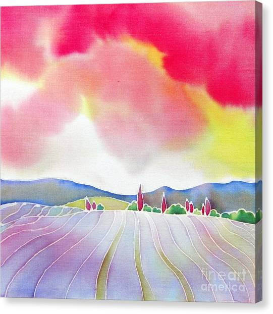 Sunset On The Lavender Farm Canvas Print
