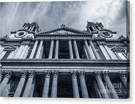 The Columns Of St Paul's Cathedral West Facade From Ludgate Hil Canvas Print